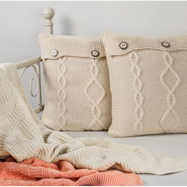 Beige cushion with buttons