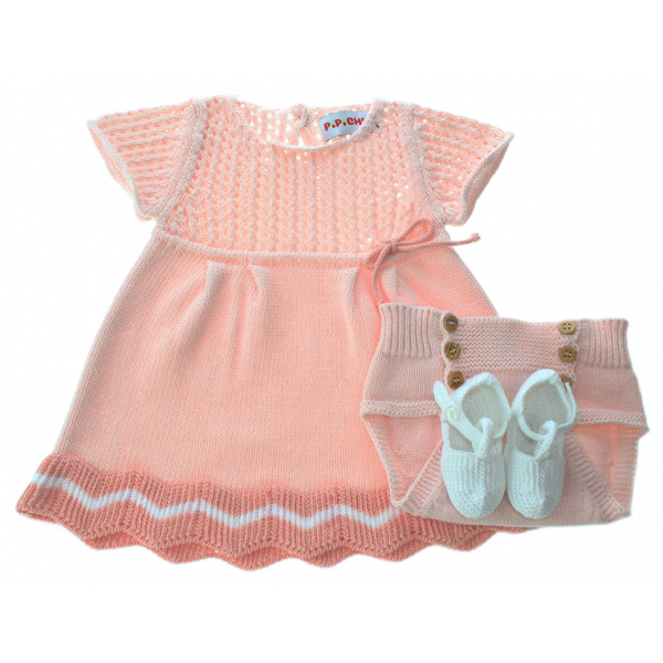 Set of a baby dress, panties and shoes