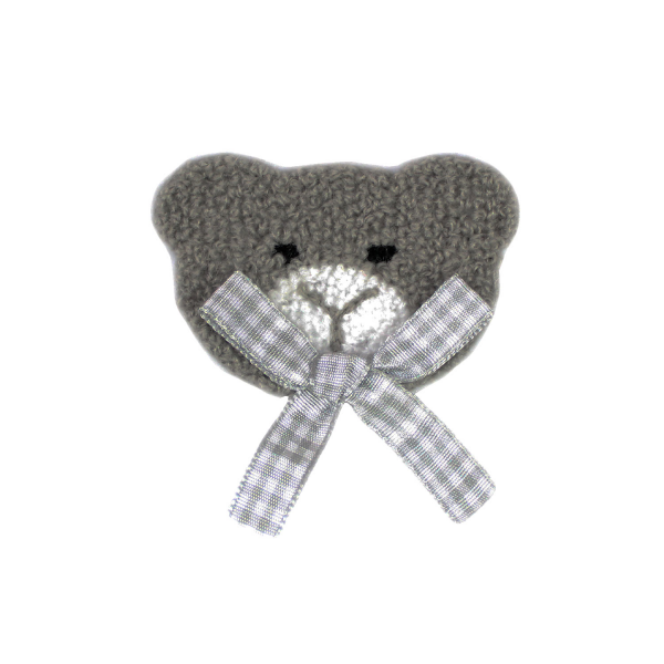 Gray patch with gray ribbon for sewing